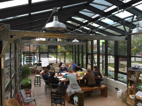 Our greenhouse serves as a place for friends and neighbors to meet and enjoy beverages/pastries before or after shopping!