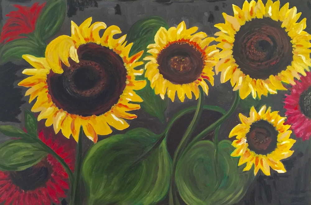 """Sunflowers"" - Oil 24""x 36"" (Theme by Emil Nolde) 2015"