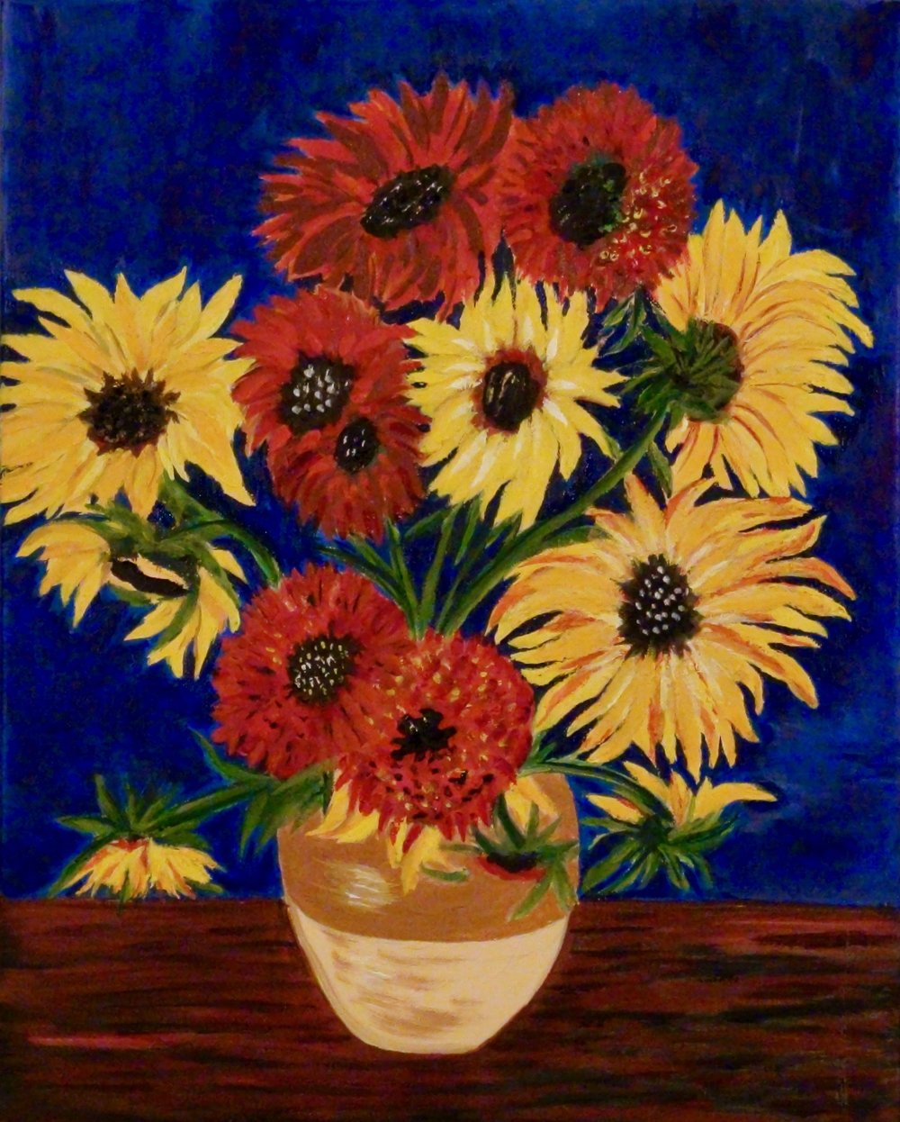 """Sunflowers in a Vase"" - Oil, 16""x 20"" - 2016"