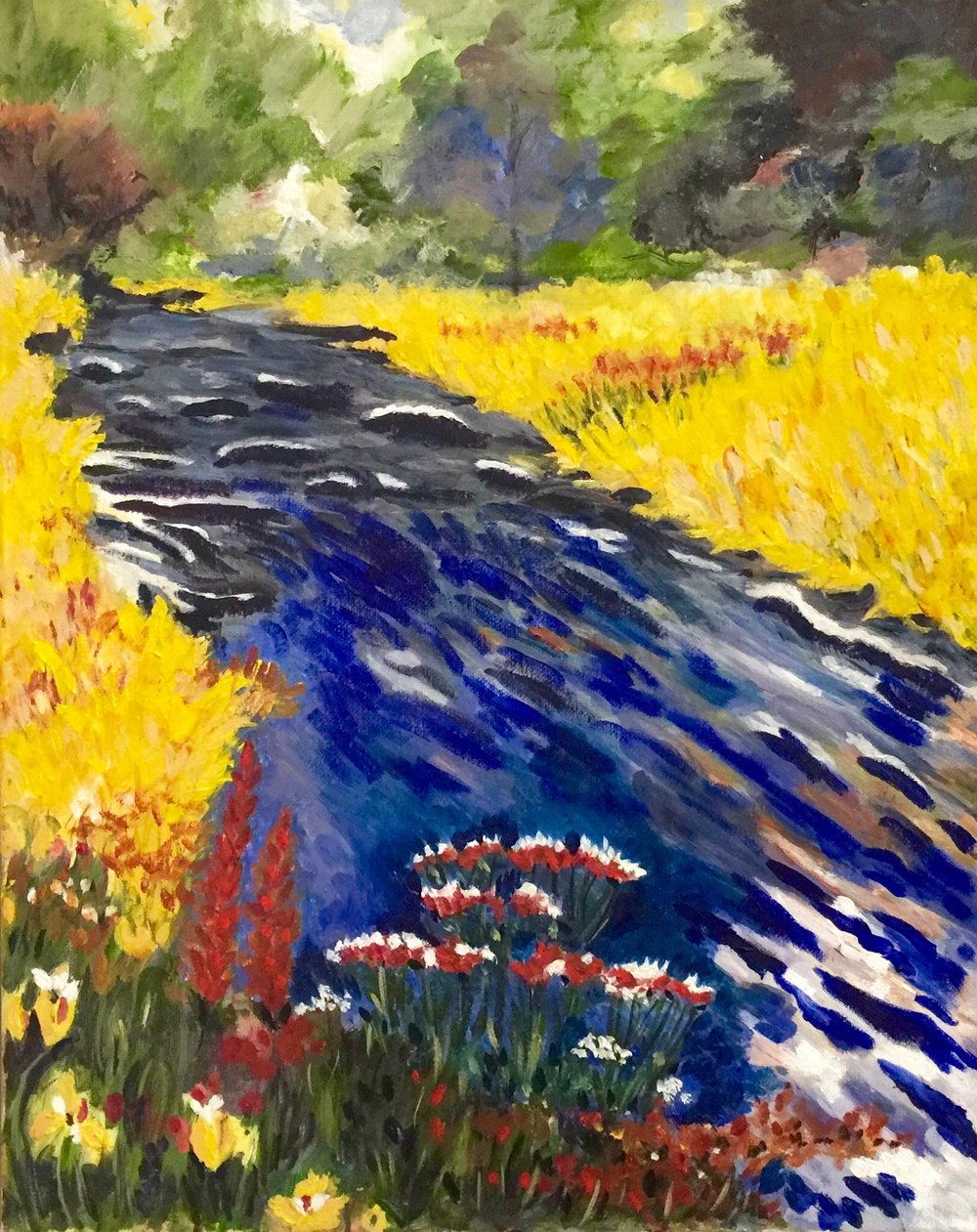 """River of Life"" - Oil, 16""x 20"" - 2014 (Following ""Landscapes in Oils"" by Noel Gregory. Search Press)"