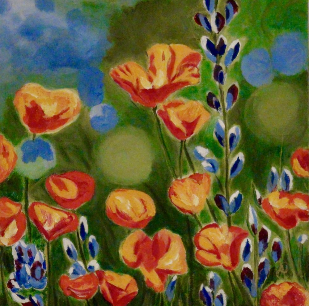 """California Poppies"" - Oil, 12""x12"" (2016)"