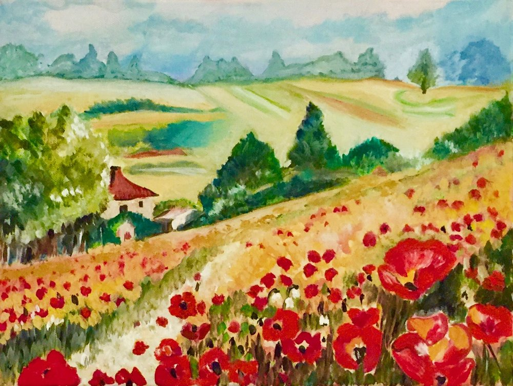 """Poppy Field"" - Oil, 12""x 16"" - 2014 (Following ""Landscapes in Oils"" by Noel Gregory (Search Press)"