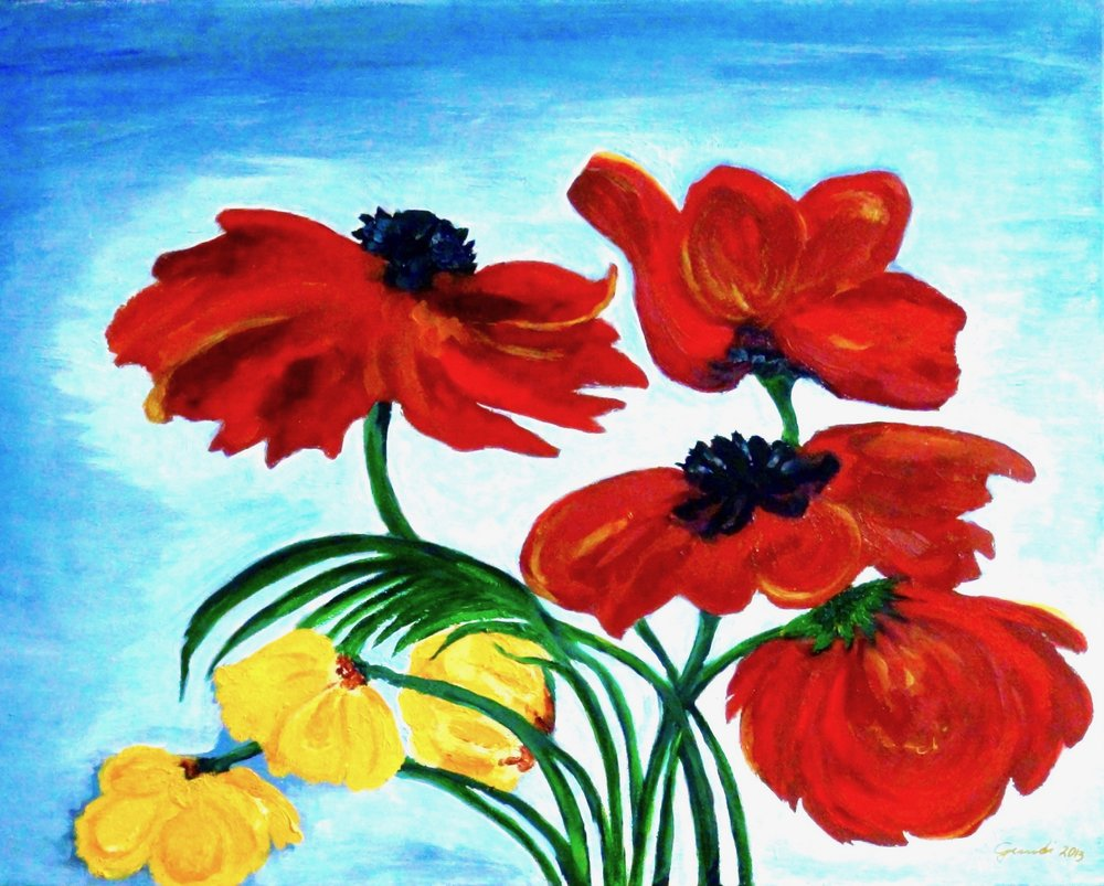 """Poppies""  Oil 16"" x 20"" - 2014"