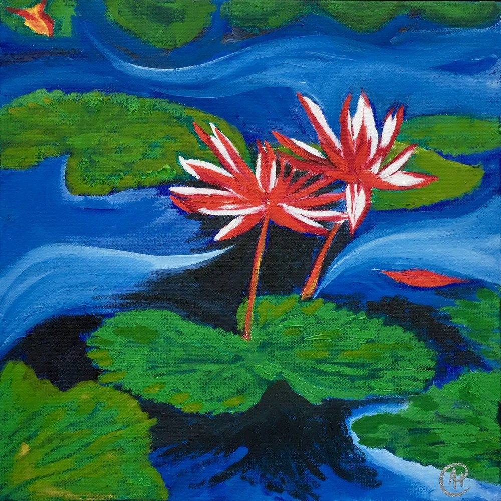 """Two Water Lilies"" - Oil, 12""x12"" (2017)"