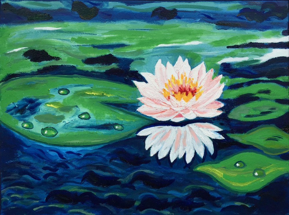 """White Water Lily"" - Oil, 12""x16"" (2017)"