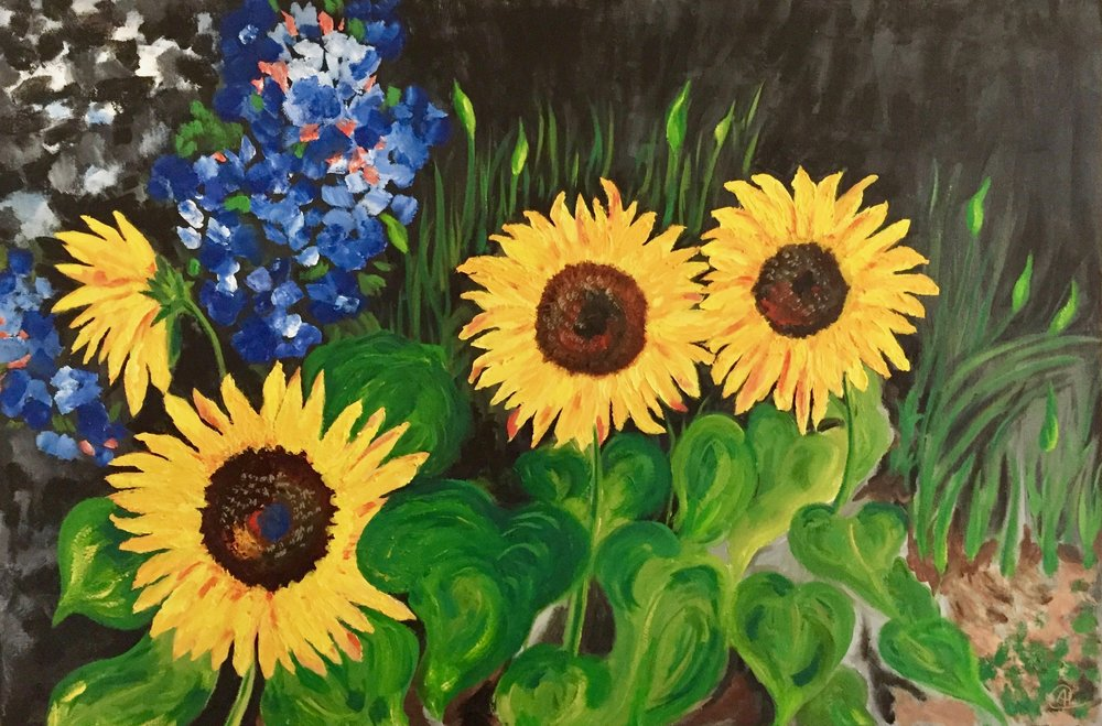 """Four Sunflowers in our Garden"" - Oil, 24""x36"" (2017)"