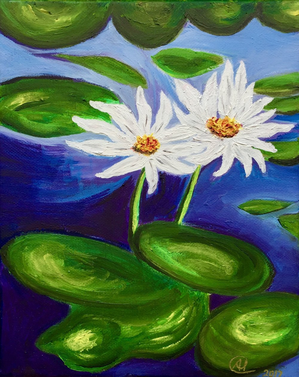 """Two Daisielilies"" - Oil, 8""x10"" (2017)"