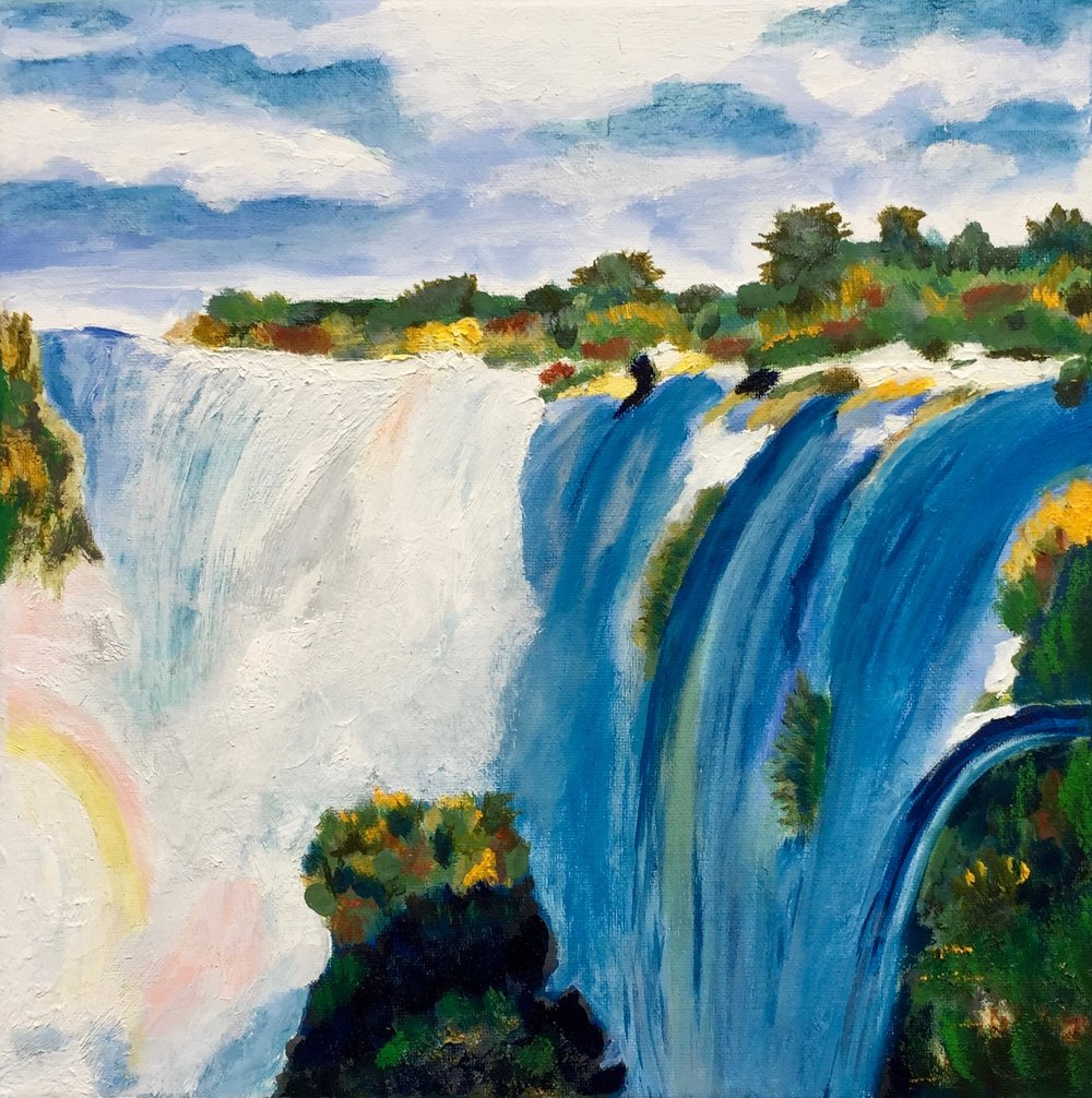"""""""Iguazu Waterfalls"""" - Oil, 12""""x12"""" (2017)"""
