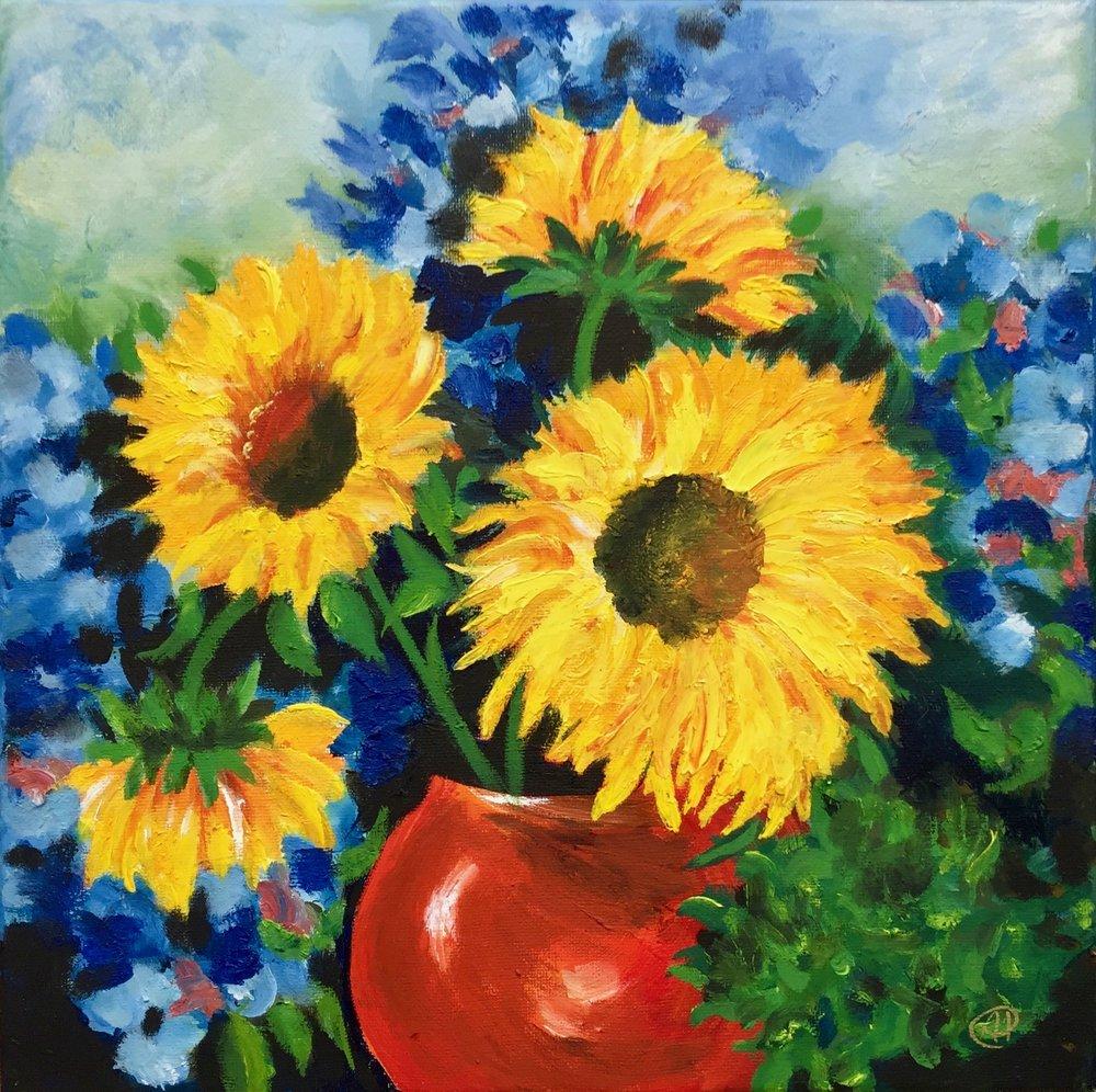 """""""Sunflower Bouquet"""" - Oil, 12""""x12"""" (2017)"""