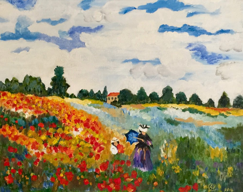 """Woman and Child in Poppy Field"" (following a theme by Claude Monet)  - Oil, 20""x16"" (2017)"