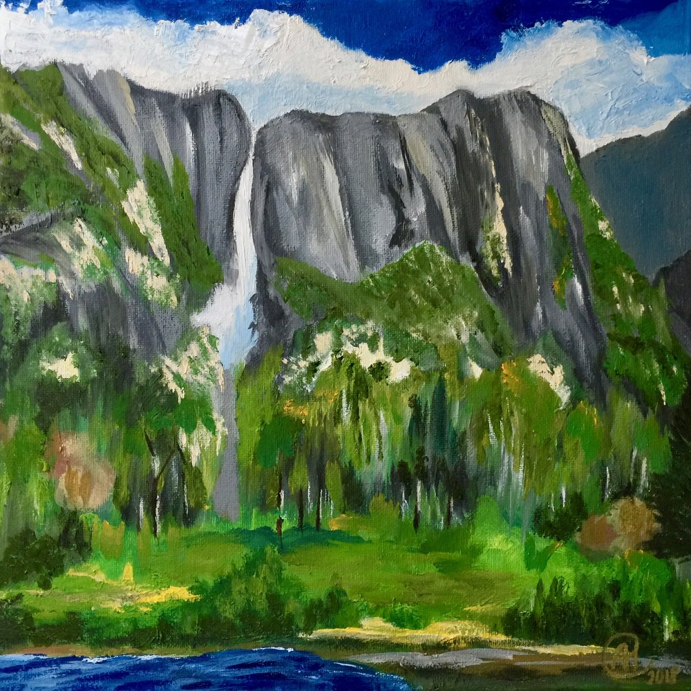 """Yosemite Falls"" - Oil, 12""x12"" (2018)"