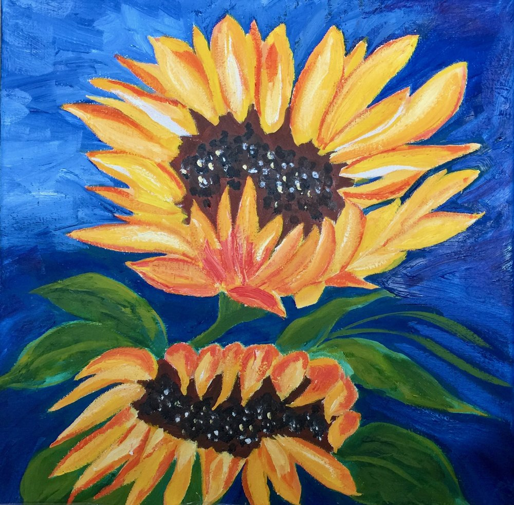 """Pair of Sun Flowers"" - Oil, 12""x12"" (2018)"