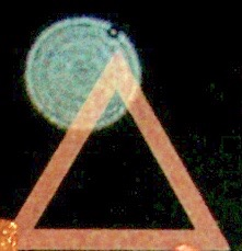 Photo 4: An emanation from a highly evolved Spirit Being, attached to the top of a wooden triangle used as transforming symbol at the Casa de Dom Inacio in Abadiania, Brazil.