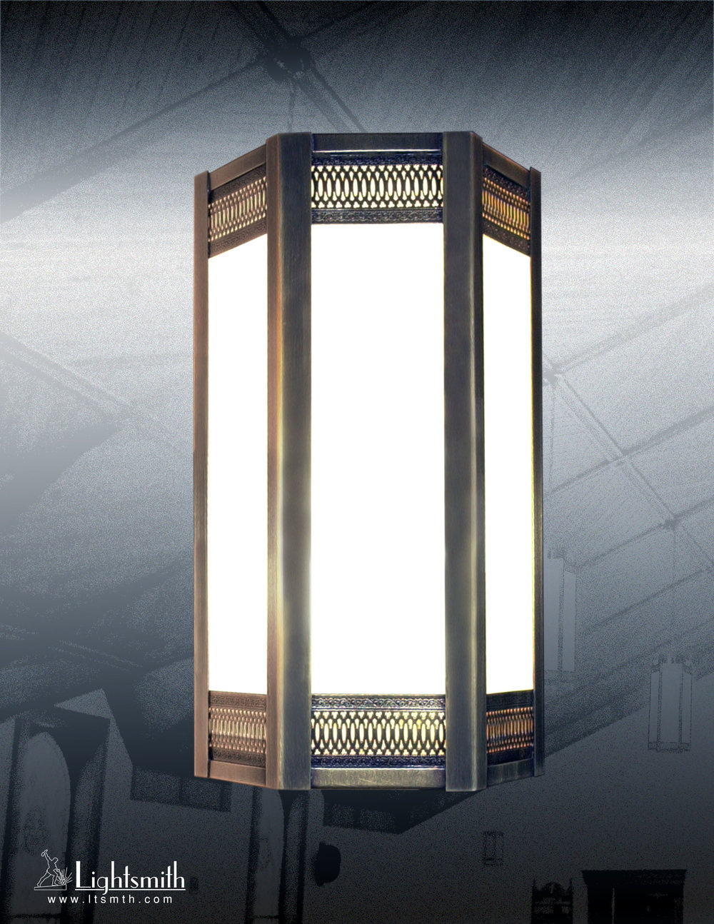 110-WT - Antique Brass - White Opal Glass