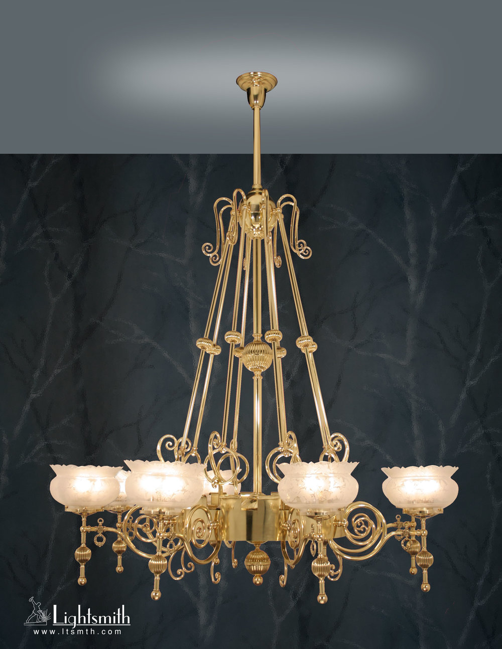 CH-4000 - Polished Brass - Glass Crown Shade