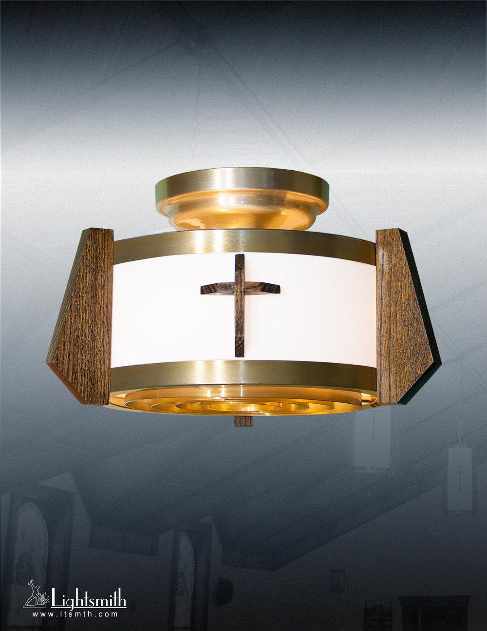 416-CC - Satin Gold - Medium Oak -White Acrylic