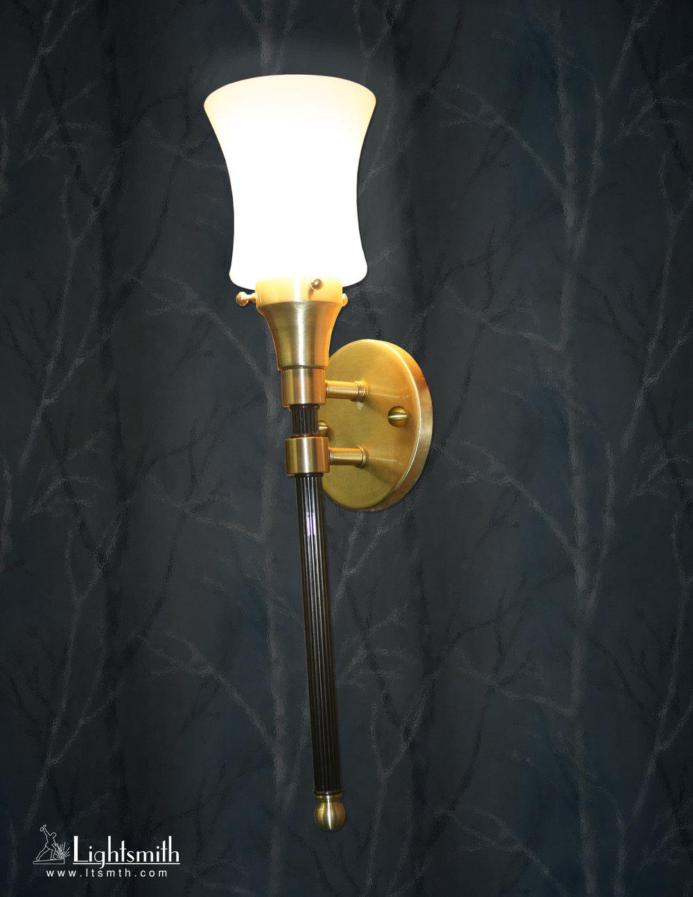 SC-8600 - Satin Brass - Antique Brass -  White Opal Glass