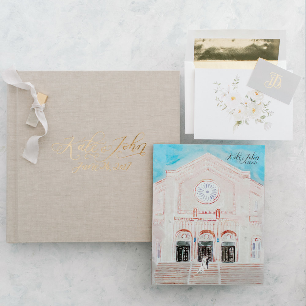 Example of one of our client's custom archival fine art album and client gift | Watercolor and Custom Album Calligraphy: Nib and Pixel