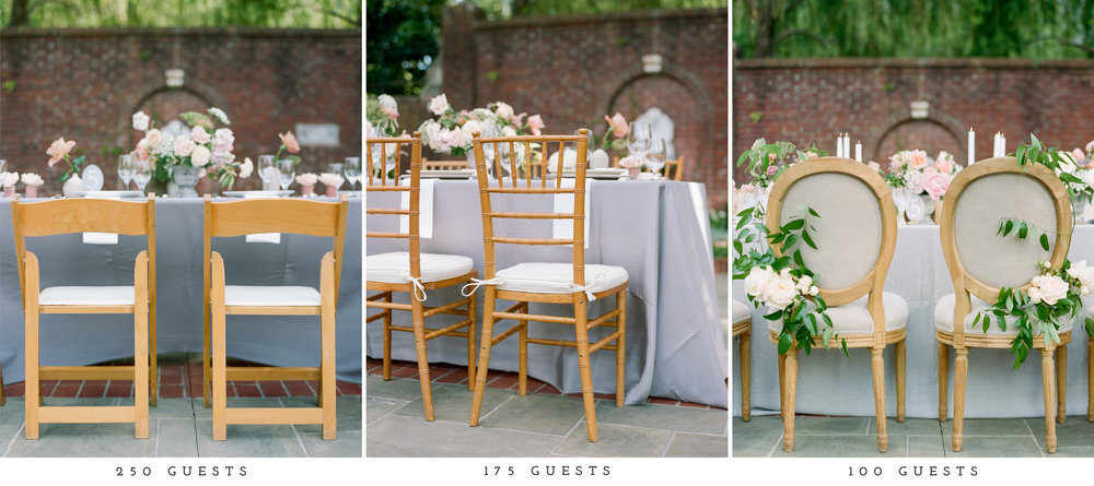 Beginning with the 250 guest count, standard folding chairs were used. We made sure to keep the same wood tone so as to visually show the change in chairs. The 175 guest count used the popular option of chivari and then for 100 guest count, we used the linen and wood mixed chairs for a more luxurious feel. While the colors of the linens changed slightly from each guest count, they were all still referred to as grey in the swatches. With the 100 guest count linen, being the truest to gray and more much thick with a beautiful texture.