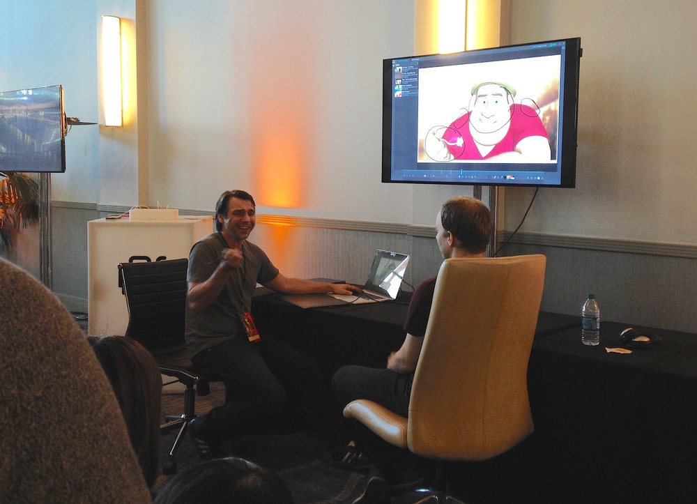 Public critique with Michal Makarewicz at the SyncSketch booth.