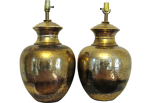 Hammered Brass Lamps