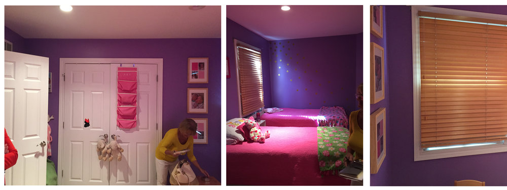Check out the girls' room before. Purple paint, heavy window coverings made for a dark, drab space. First step was to brighten this up and bring in the natural light!