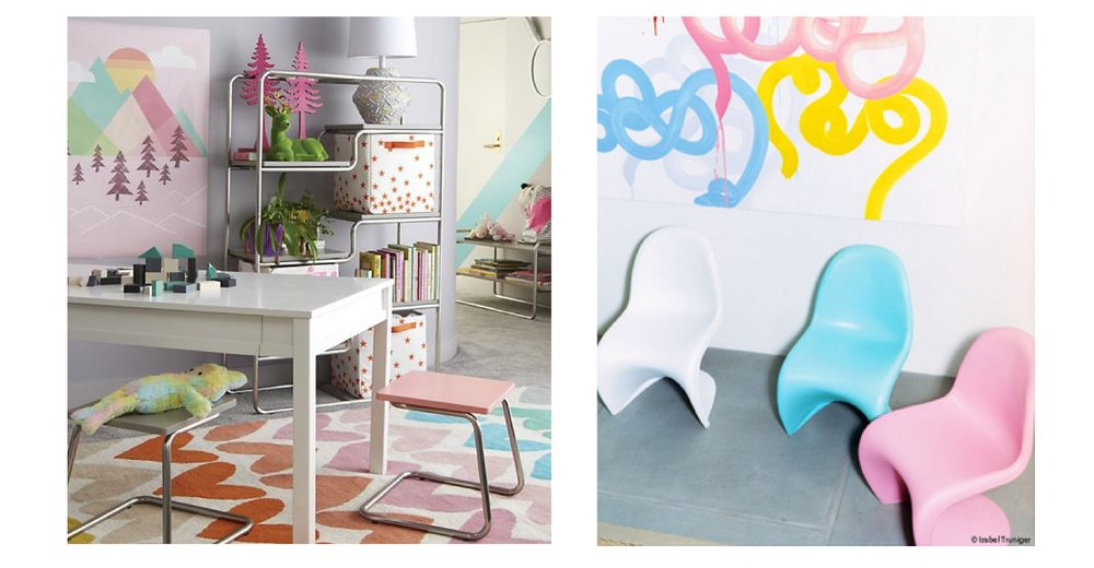 Left: Land of Nod desk and Right: kid's chairs by Vitra.
