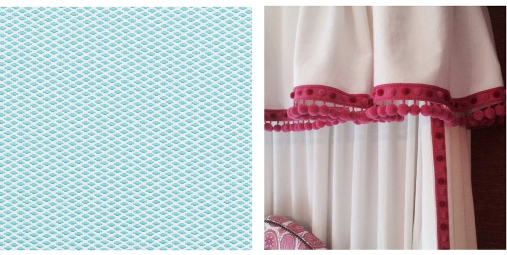 Left: Duralee fabric and Right: Samuel and Son's pom fringe.