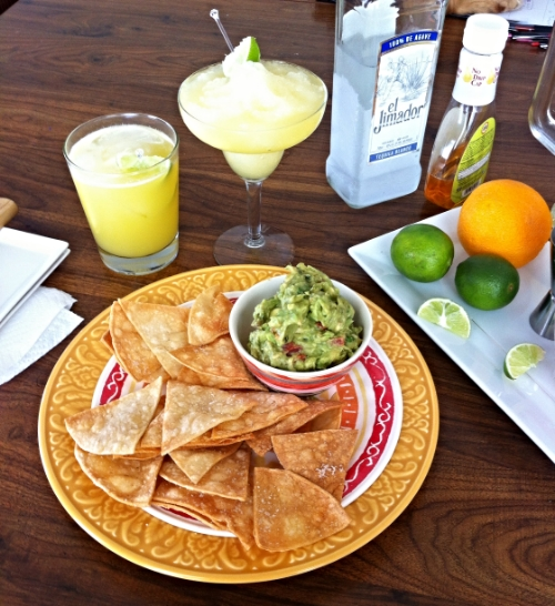 Homemade Tortilla Chips and Guacamole & Classic Margaritas! TooIntoIt.com
