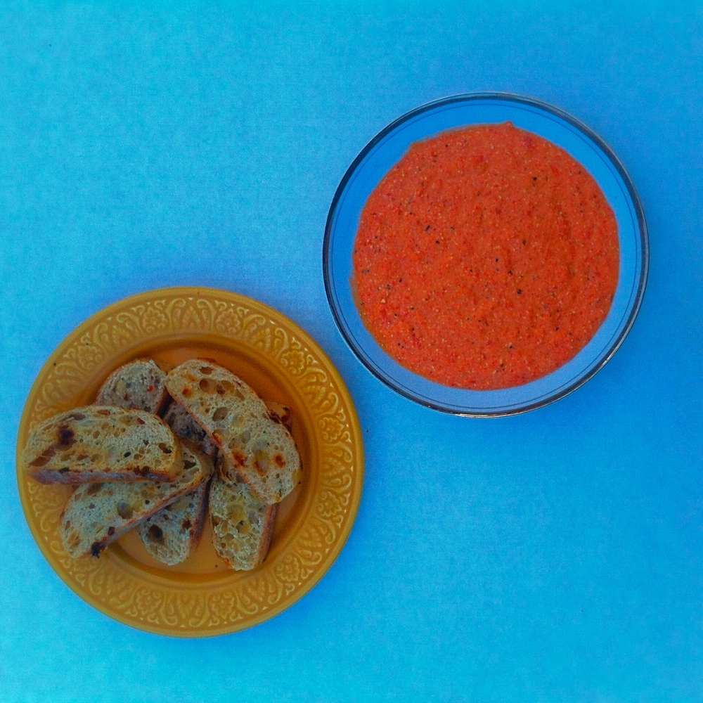 Roasted Red Pepper Dip for #tapastuesday on TooIntoIt.com