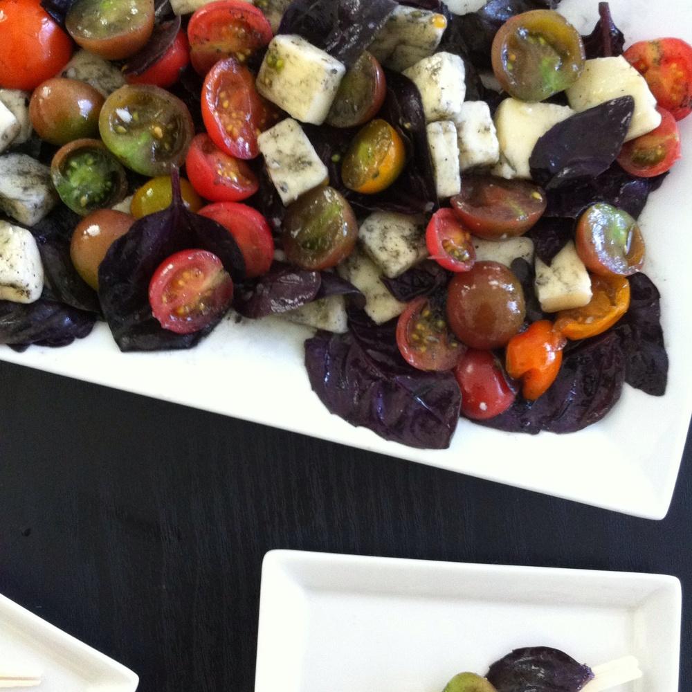 Heirloom Tomato & Purple Basil Salad for #TapasTuesday on TooIntoIt.com!