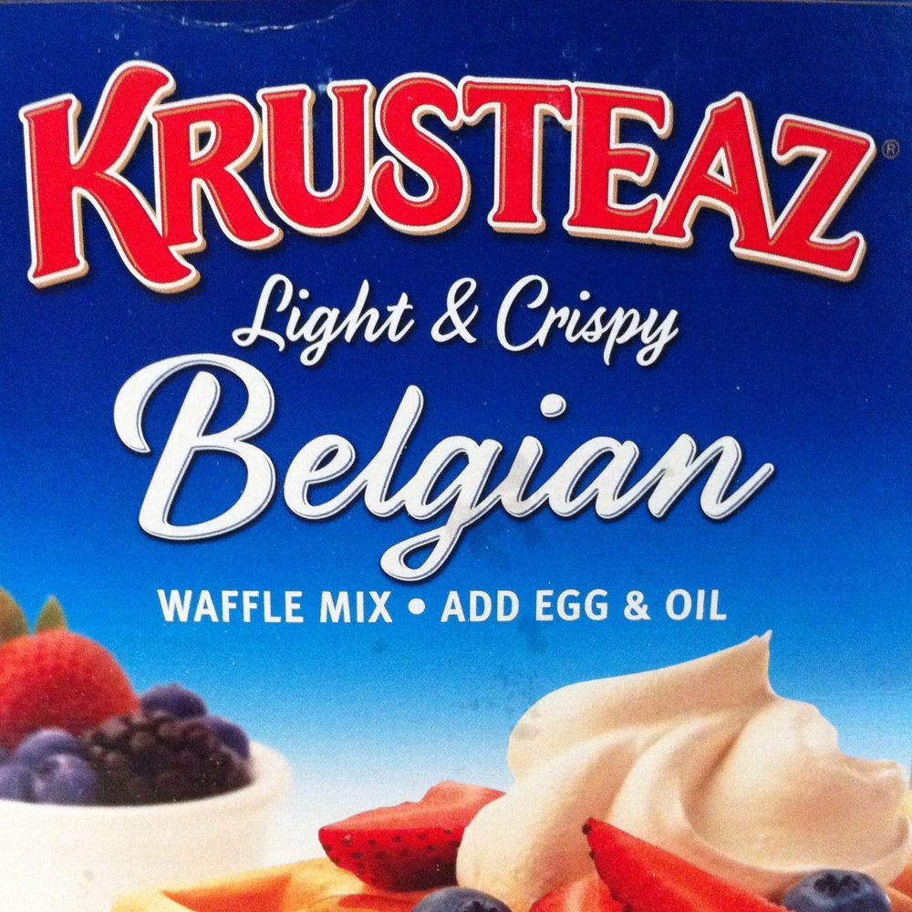 Psssst, check out what the waffle mix I picked up was called. Amazing.