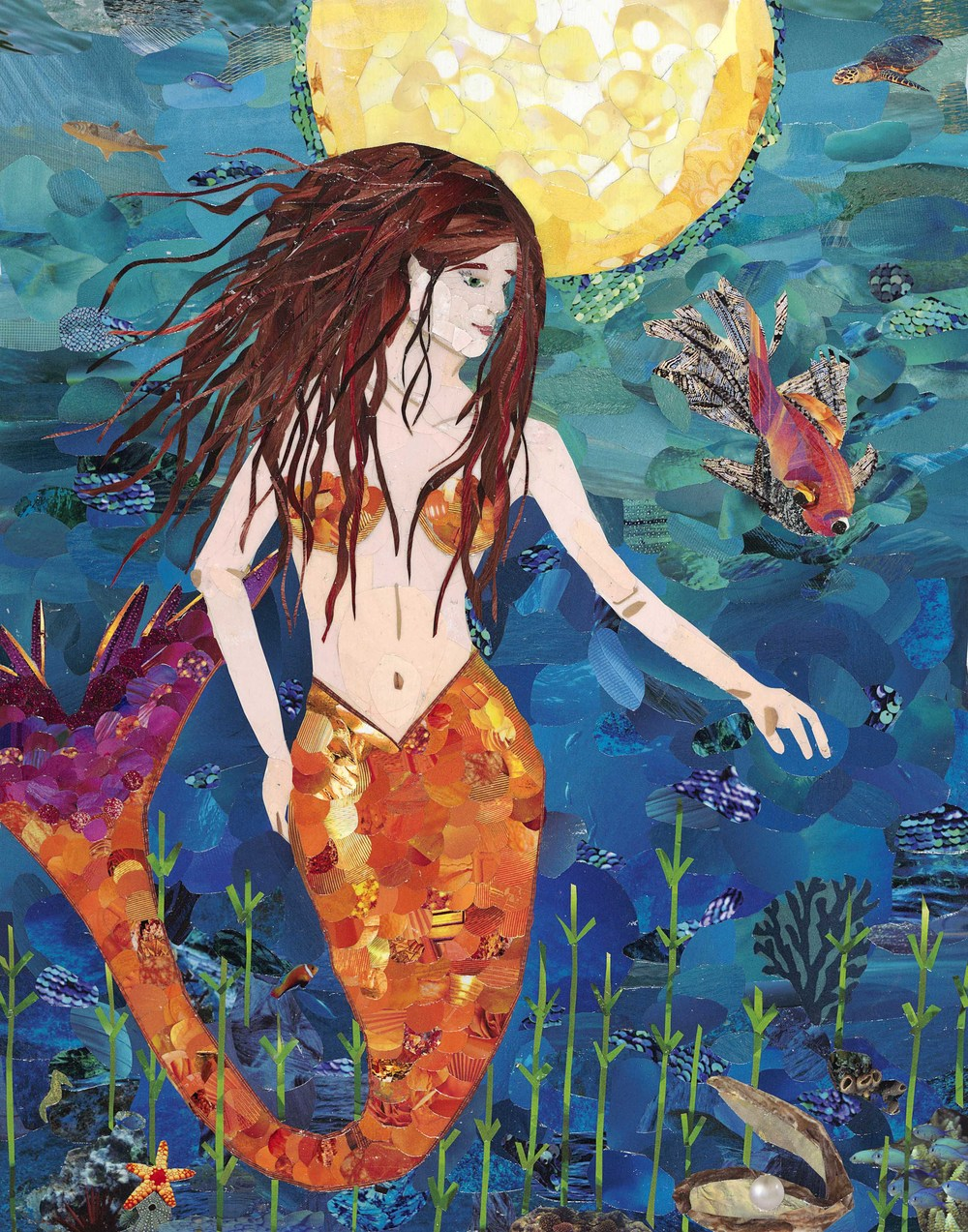 Mermaid - This 11x14 inch collage was commissioned by a client in Mississippi who loves mermaids! I sent her several google images of various mermaids to get a sense of the style and pose she wanted. Next I created a sketch and came up with a color palette for her approval. From there, she trusted me to create her special mermaid!