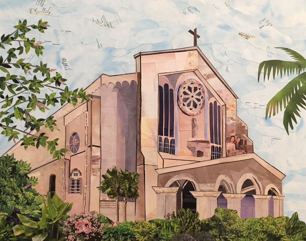 Our Lady of Lourdes - This 16x20 inch collage was commissioned by 4 siblings as a 50th wedding anniversary present for their parents. This is the church they were married in back in 1967 in the Philippines. I found source photos and old postcards online to help guide my sketch. Hidden in the collage is a photo of the couple on their wedding day, along with 10+ other items that have special meaning for them. This was an incredibly enjoyable, rewarding, and memorable experience for me. I feel honored to have been trusted with creating this special gift for this kind family.