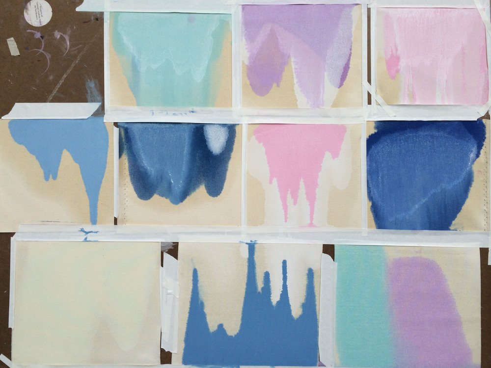 Pour Series 2 , 2014, composite of 10 studies of oil on canvas, approximately 10 x 10 inches each.