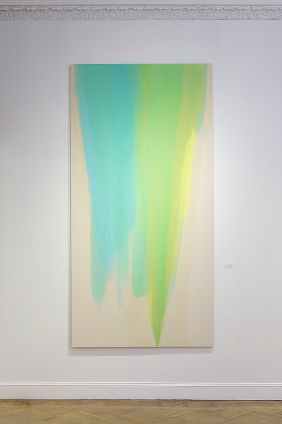 Verdant Pour & Embrace , 2015, Oil on canvas, 120 x 60 inches.