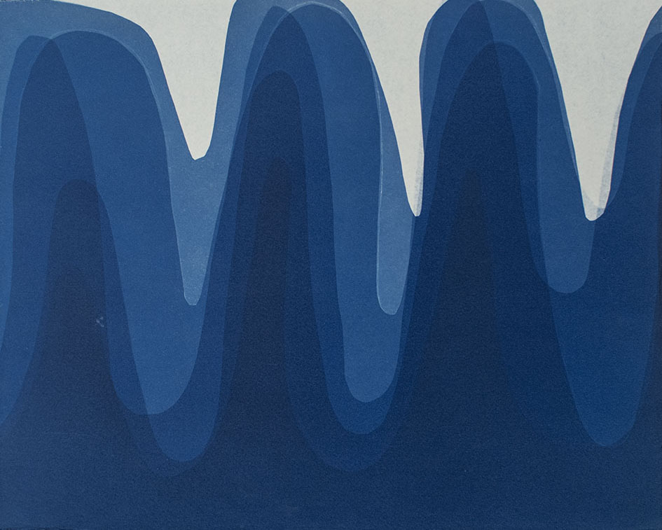 Waves I , 2014 Cyanotype on Arches paper 12 x 15 inches
