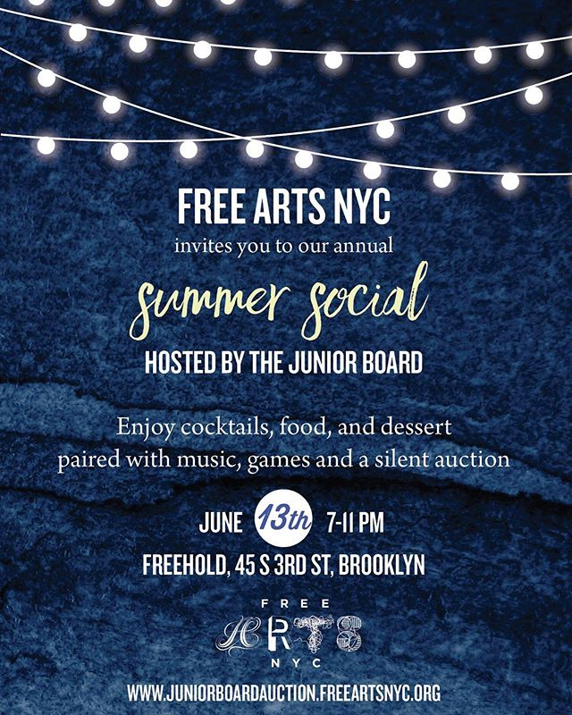 Hey NYC! If you're looking for something fun tonight, join @freeartsnyc for our Junior Board Summer Social @thefreehold! Link in bio for tickets! #uprisenyc #todoinnyc #todoinnyctonight #nycevents #nycparty #nycnightlife #youreinvited #nycart #supportartists #supportlocalbusiness #artseducation #mentorship