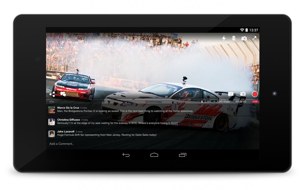 Broadcasting experience on Android tablets.