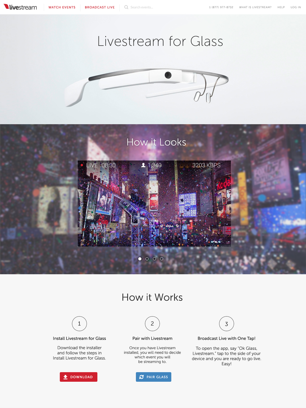 Google Glass website on Livestream.