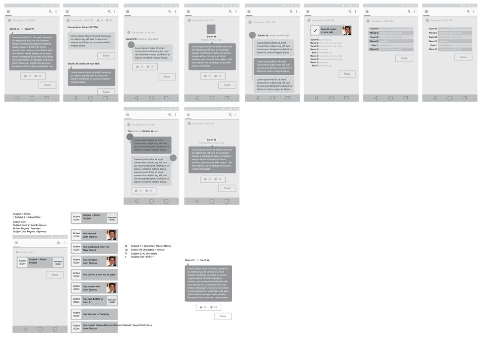 UX Exploration for information architecture, text density and chat bubbles format.