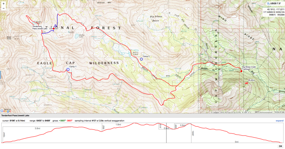 Map and Elevation Profile 15.8 Miles Total.