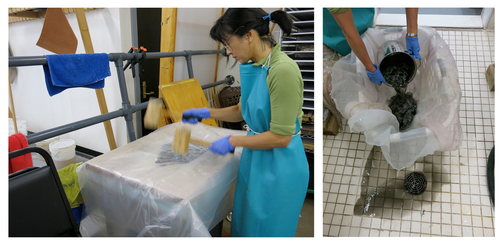 Above left: Kazuko beating fiber by hand. Above right: ink washing free from the fiber.