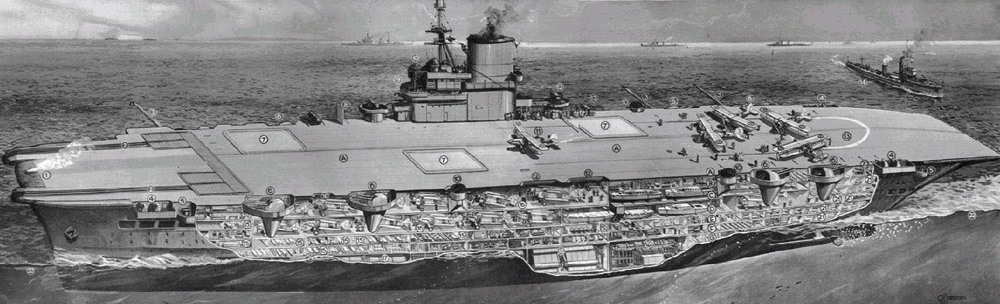 CLICK FOR LARGER VIEW: Ark Royal, with her two hangars, was designed with the Pacific theatre in mind.