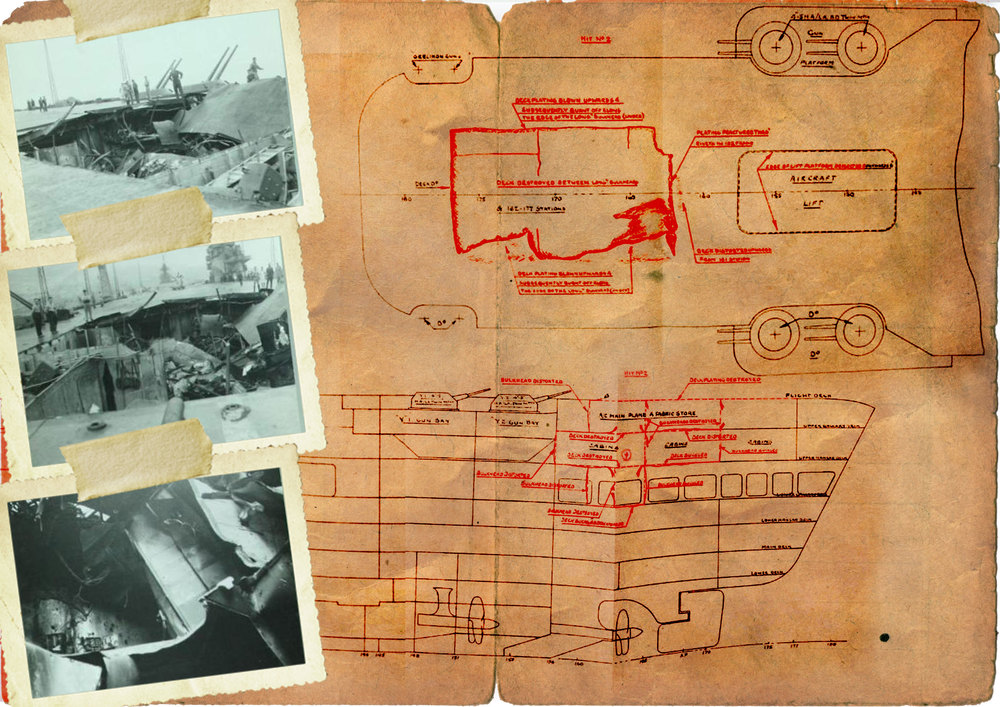 CLICK on the above image for a larger view.Top and centre left pictures show the gutted section of aft fight deck. Bottom left is a view of the wrecked interior.
