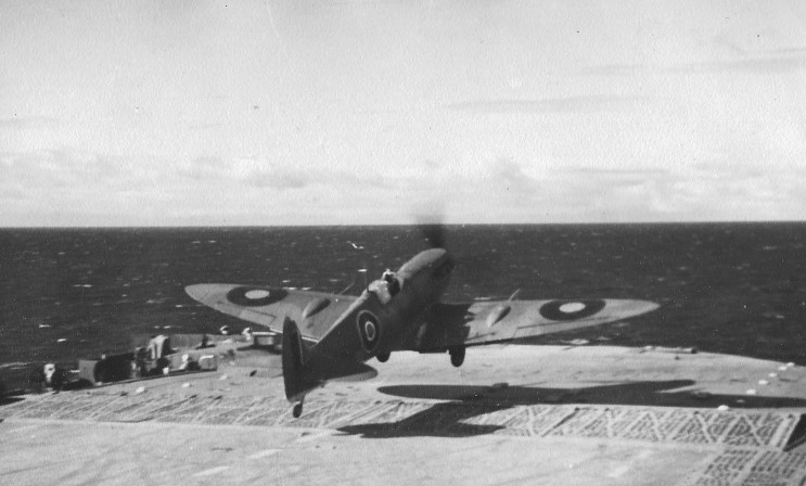 A Spitfire taking off from HMS FURIOUS during Operation Bellows.