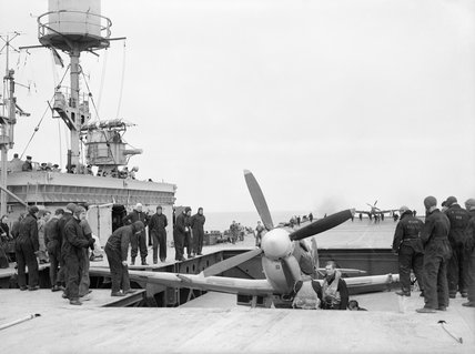 Spitfires moved on to the deck of HMS FURIOUS