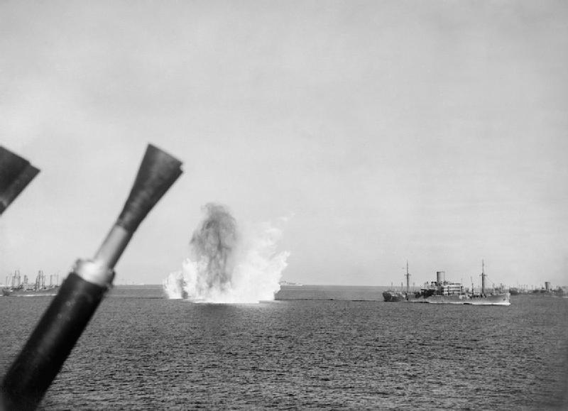 12 August: Evening air and submarine attacks: A bomb falling astern of MS GLENORCHY, which was later sunk by air attack.