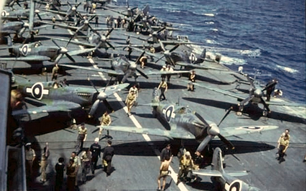 HMS INDEFATIGABLE'S Seafires arranged on deck.