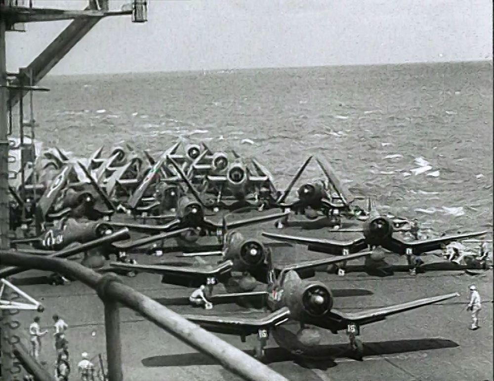 A strike of Corsairs and Avengers is launched from HMS FORMIDABLE.